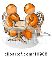 Two Businessmen Sitting At A Table Discussing Papers Clipart Illustration