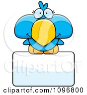 Clipart Cute Blue Bird Over A Sign Royalty Free Vector Illustration by Cory Thoman