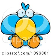 Clipart Cute Blue Bird Chick Sitting Royalty Free Vector Illustration by Cory Thoman