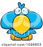 Clipart Cute Blue Bird Chick Royalty Free Vector Illustration