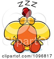 Sleeping Yellow Rooster Chick