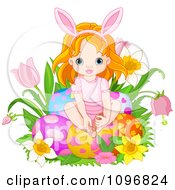 Cute Red Haired Easter Fairy Girl Sitting With Eggs In Flowers