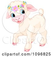 Clipart Cute Easter Lamb Wearing Flowers On Its Head Royalty Free Vector Illustration by Pushkin