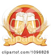 Blank Banner With Wheat Circle Around Two Beer Mugs