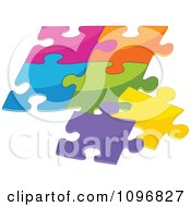 Clipart Puzzle Of Colorful Pieces Fitting Together Royalty Free Vector Illustration