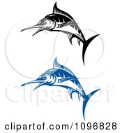 Clipart Blue And Black And White Marlin Fish Royalty Free Vector Illustration