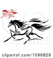 Clipart Black And White And Red Horses Running Royalty Free Vector Illustration