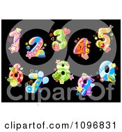 Clipart Colorful Floral Digit Numbers On Black Royalty Free Vector Illustration