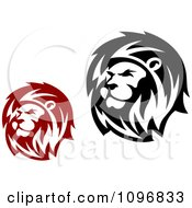 Clipart Red And Black Lion Heads Royalty Free Vector Illustration