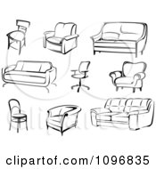 Clipart Black And White Modern Furniture Royalty Free Vector Illustration