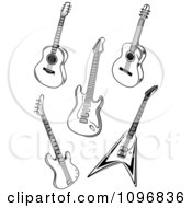 Clipart Black And White Guitars Royalty Free Vector Illustration