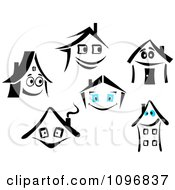 Clipart Happy Houses Royalty Free Vector Illustration