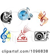 Clipart Viny Records Players Speakers And Music Notes Royalty Free Vector Illustration