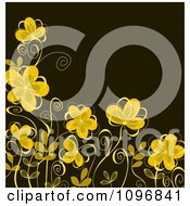 Clipart Background Of Yellow Flowers On Brown Royalty Free Vector Illustration