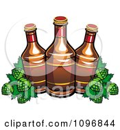 Clipart Three Beer Bottles And Hops Royalty Free Vector Illustration by Vector Tradition SM