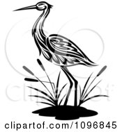 Clipart Black And White Crane Wading By Cattails Royalty Free Vector Illustration