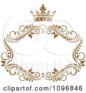 Clipart Gold Ornate Swirl Frame With A Crown And Copyspace On White 1 Royalty Free Vector Illustration