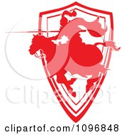Clipart Silhouetted Red Jousting Knight Pointing His Lance Over A Shield Royalty Free Vector Illustration