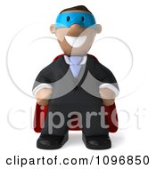 3d Black Business Man Super Hero With Hands On His Hips