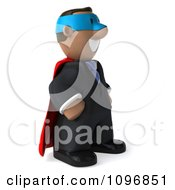 Clipart 3d Black Business Man Super Hero Facing Right Royalty Free CGI Illustration by Julos