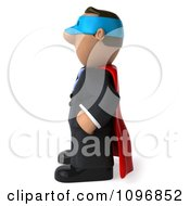 Clipart 3d Black Business Man Super Hero Facing Left Royalty Free CGI Illustration by Julos