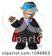 3d Black Business Man Super Hero Waving