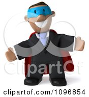 3d Black Business Man Super Hero With Open Arms