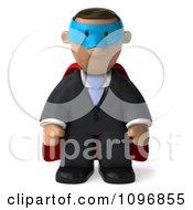 3d Black Business Man Super Hero Pouting