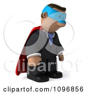 3d Sad Black Business Man Super Hero