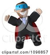 3d Jumping Black Business Man Super Hero