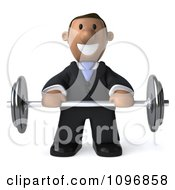 3d Indian Businessman Holding A Barbell