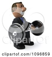 3d Indian Businessman Smiling And Holding A Barbell
