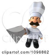 3d Male Chef Holding Up An Envelope