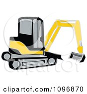 Clipart Black And Yellow Earth Mover Excavator Royalty Free Vector Illustration by Dennis Holmes Designs