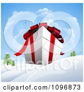 Clipart 3d Huge Christmas Gift Box In A Winter Landscape With Snow And Sunshine Royalty Free Vector Illustration