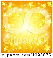 Clipart Orange And Yellow Star Burst Background Royalty Free Vector Illustration