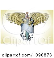 Clipart Winged Sword With A Long Blue Banner Tattoo Design Royalty Free Vector Illustration
