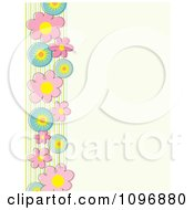 Spring Flowers And Stripes Border Over Beige Copyspace