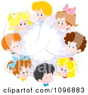 Clipart Circle Of Happy School Children And A Brainstorming Cloud Royalty Free Vector Illustration by Alex Bannykh