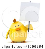 Clipart 3d Chubby Yellow Bird Chicken Holding A Sign 1 Royalty Free CGI Illustration