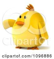 Clipart 3d Chubby Yellow Bird Chicken Presenting 2 Royalty Free CGI Illustration