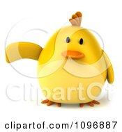 Clipart 3d Chubby Yellow Bird Chicken Presenting 1 Royalty Free CGI Illustration