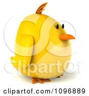 Clipart 3d Chubby Yellow Bird Chicken Facing Right Royalty Free CGI Illustration