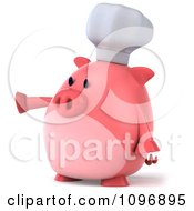 Clipart 3d Chubby Pig Chef Pointing Left Royalty Free CGI Illustration by Julos