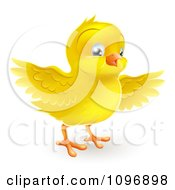 Clipart Happy Cute Yellow Easter Chick Flapping Its Wings Royalty Free Vector Illustration