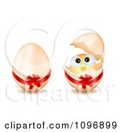 Clipart 3d Easter Eggs One With A Bow And One With A Hatching Chick Royalty Free Vector Illustration