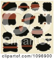 Clipart Brown And Black Sewn Label Design Elements On Beige Royalty Free Vector Illustration by vectorace