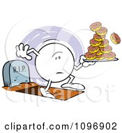 Moodie Character With One Foot In The Grave And A Plate Of Donuts