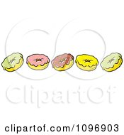 Clipart Border Of Green Pink Brown And Yellow Donuts Royalty Free Vector Illustration