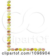 Clipart Left And Bottom Border Of Green Pink Brown And Yellow Donuts Royalty Free Vector Illustration by Johnny Sajem